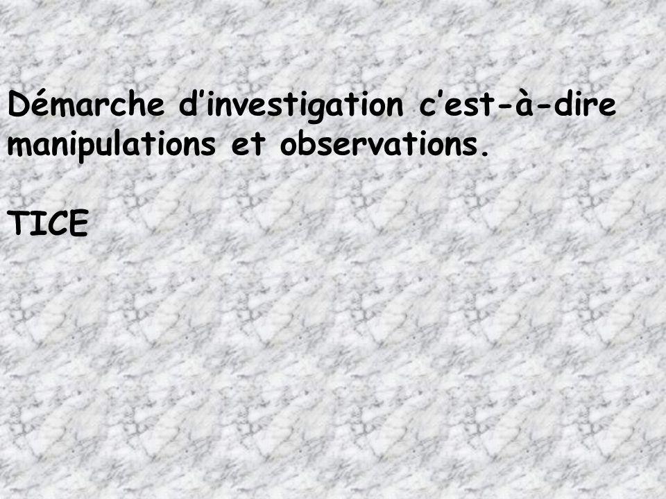 Démarche d'investigation c'est-à-dire manipulations et observations.