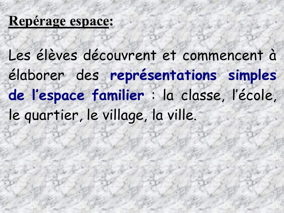 Repérage espace: