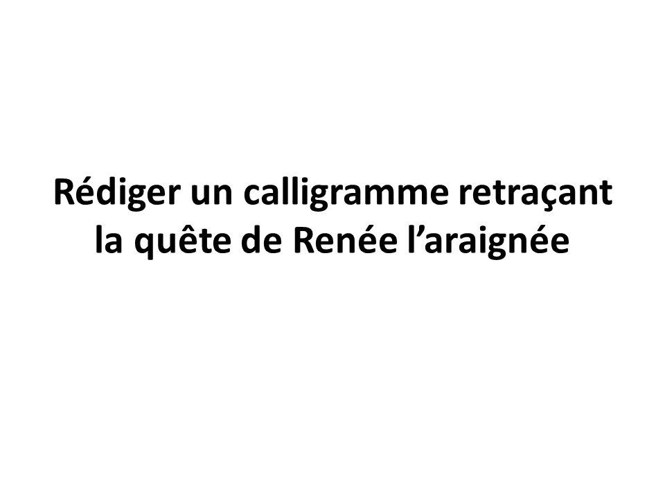 Rédiger un calligramme retraçant la quête de Renée l'araignée