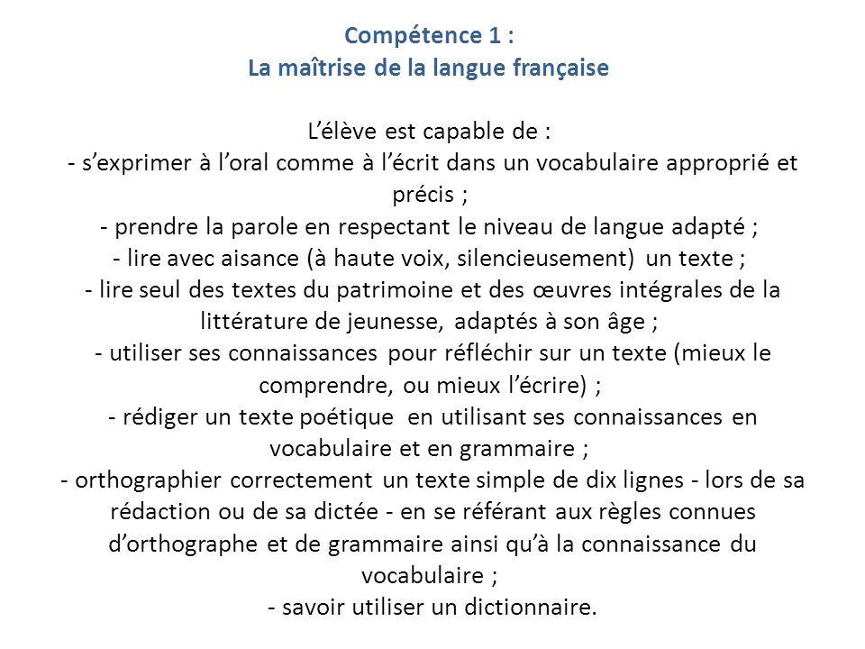 Compétence 1 : La maîtrise de la langue française L'élève est capable de : - s'exprimer à l'oral comme à l'écrit dans un vocabulaire approprié et précis ; - prendre la parole en respectant le niveau de langue adapté ; - lire avec aisance (à haute voix, silencieusement) un texte ; - lire seul des textes du patrimoine et des œuvres intégrales de la littérature de jeunesse, adaptés à son âge ; - utiliser ses connaissances pour réfléchir sur un texte (mieux le comprendre, ou mieux l'écrire) ; - rédiger un texte poétique en utilisant ses connaissances en vocabulaire et en grammaire ; - orthographier correctement un texte simple de dix lignes - lors de sa rédaction ou de sa dictée - en se référant aux règles connues d'orthographe et de grammaire ainsi qu'à la connaissance du vocabulaire ; - savoir utiliser un dictionnaire.