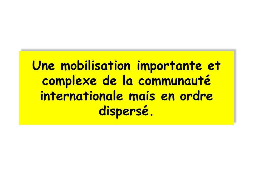 Une mobilisation importante et complexe de la communauté internationale mais en ordre dispersé.