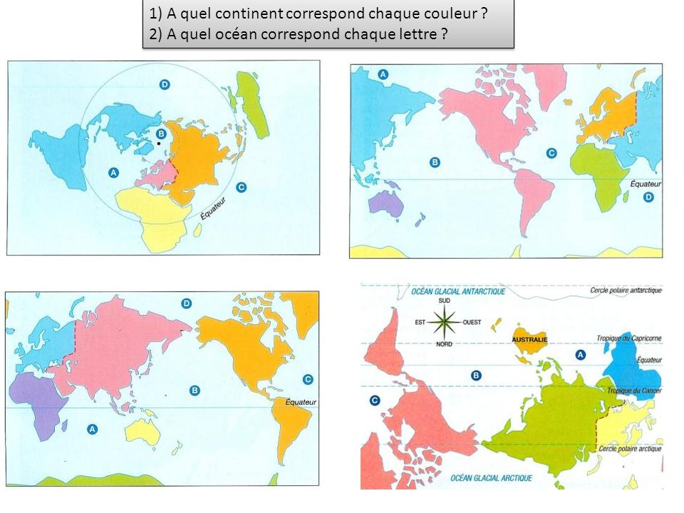 1) A quel continent correspond chaque couleur