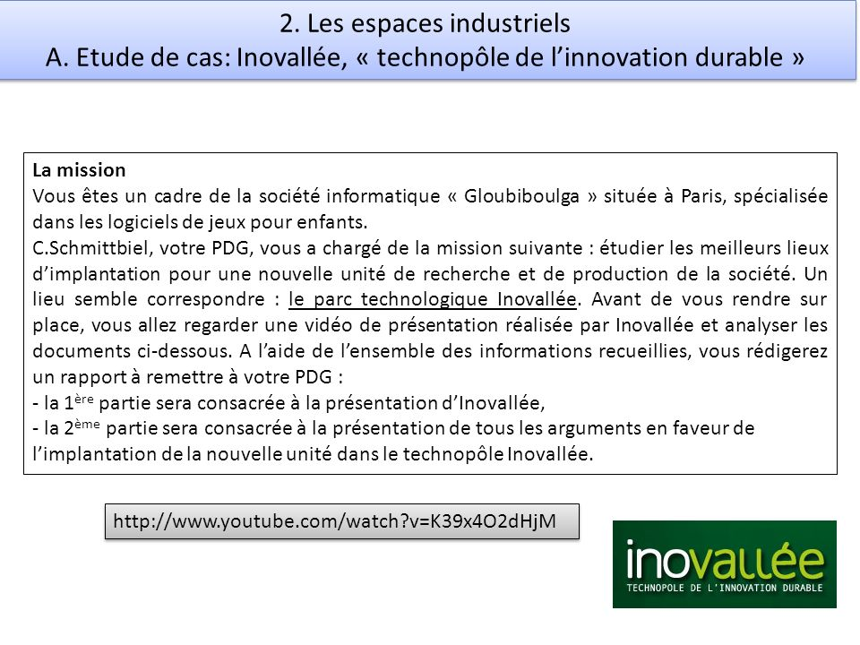 2. Les espaces industriels A