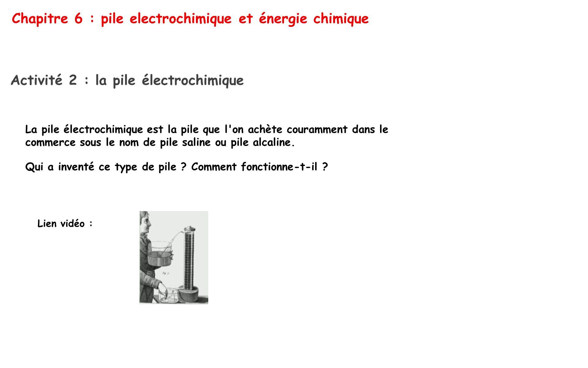 Chapitre 6 : pile electrochimique et énergie chimique