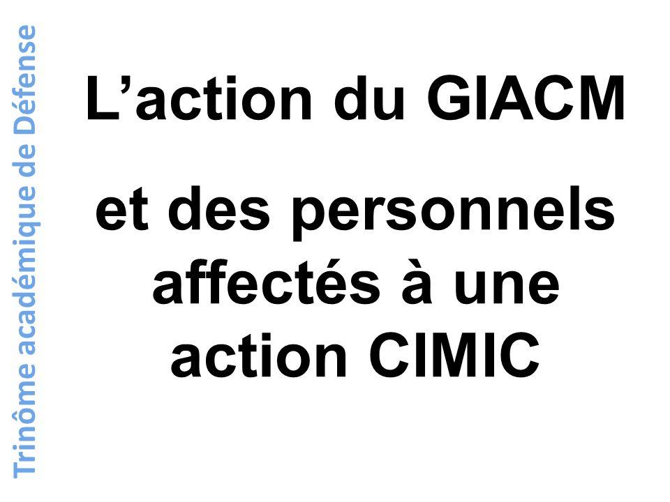 L'action du GIACM et des personnels affectés à une action CIMIC