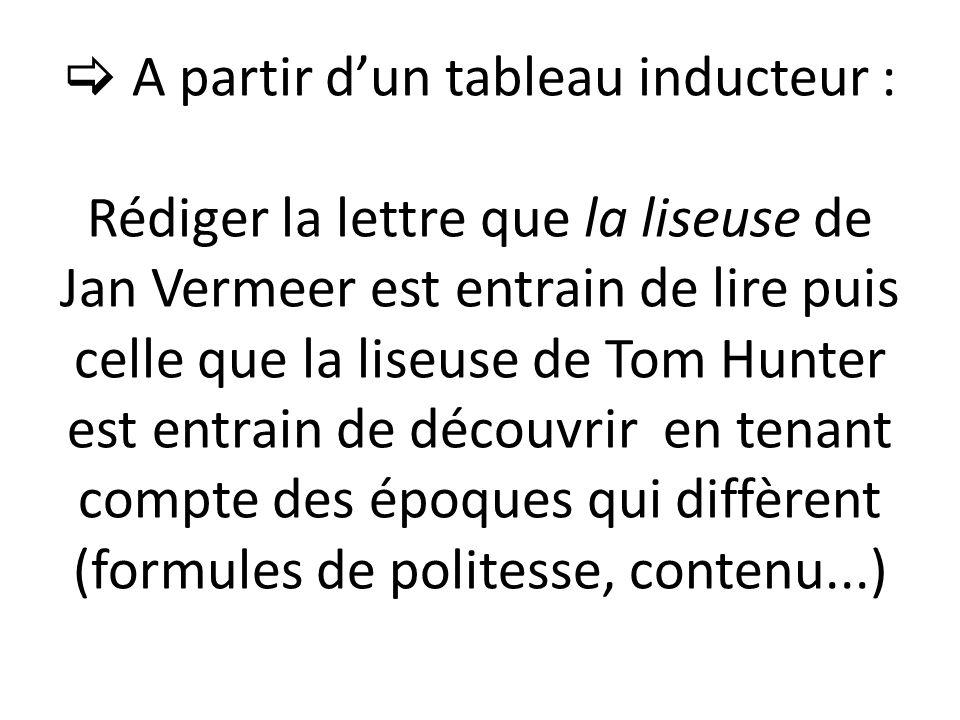  A partir d'un tableau inducteur : Rédiger la lettre que la liseuse de Jan Vermeer est entrain de lire puis celle que la liseuse de Tom Hunter est entrain de découvrir en tenant compte des époques qui diffèrent (formules de politesse, contenu...)