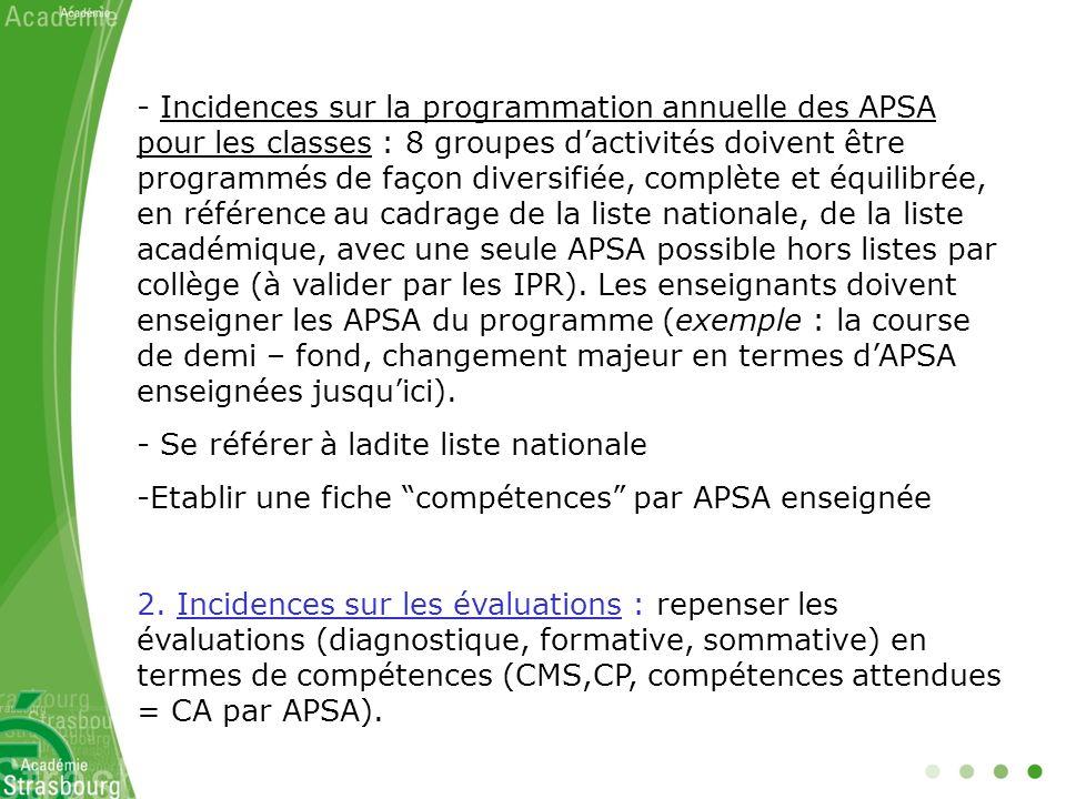 Incidences sur la programmation annuelle des APSA pour les classes : 8 groupes d'activités doivent être programmés de façon diversifiée, complète et équilibrée, en référence au cadrage de la liste nationale, de la liste académique, avec une seule APSA possible hors listes par collège (à valider par les IPR). Les enseignants doivent enseigner les APSA du programme (exemple : la course de demi – fond, changement majeur en termes d'APSA enseignées jusqu'ici).