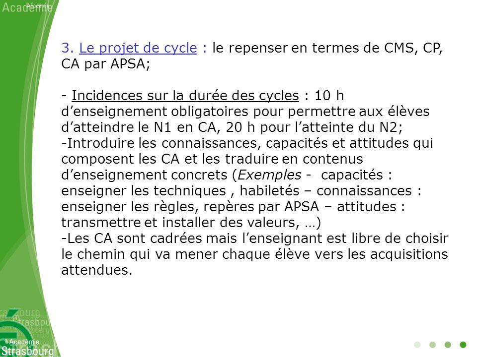 3. Le projet de cycle : le repenser en termes de CMS, CP, CA par APSA;