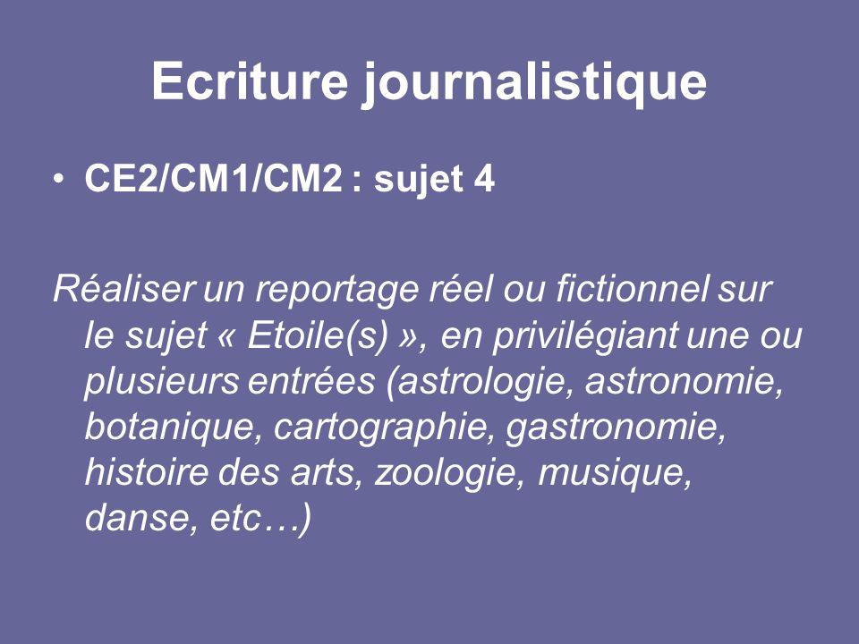 Ecriture journalistique