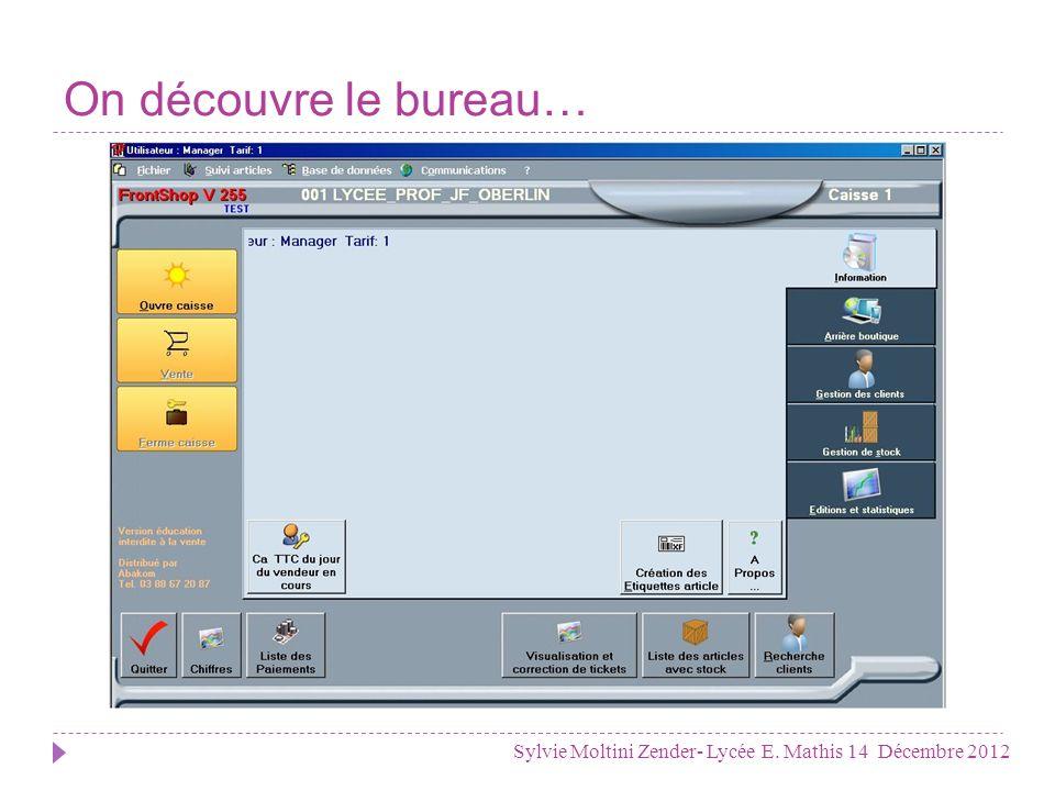On découvre le bureau… Sylvie Moltini Zender- Lycée E. Mathis 14 Décembre 2012