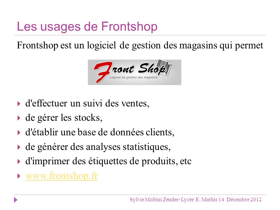 Les usages de Frontshop
