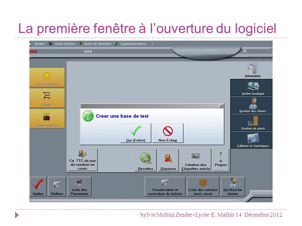 La première fenêtre à l'ouverture du logiciel