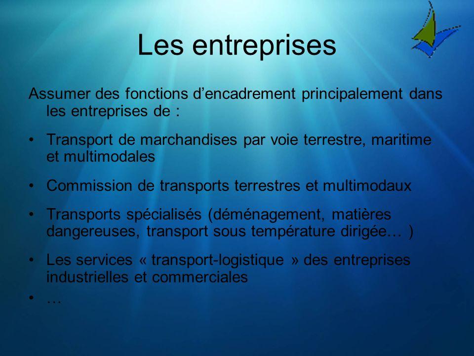 Les entreprises Assumer des fonctions d'encadrement principalement dans les entreprises de :