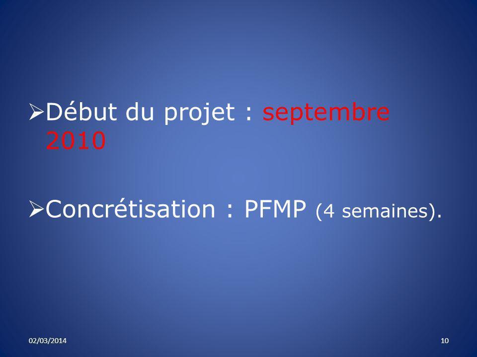 Début du projet : septembre 2010