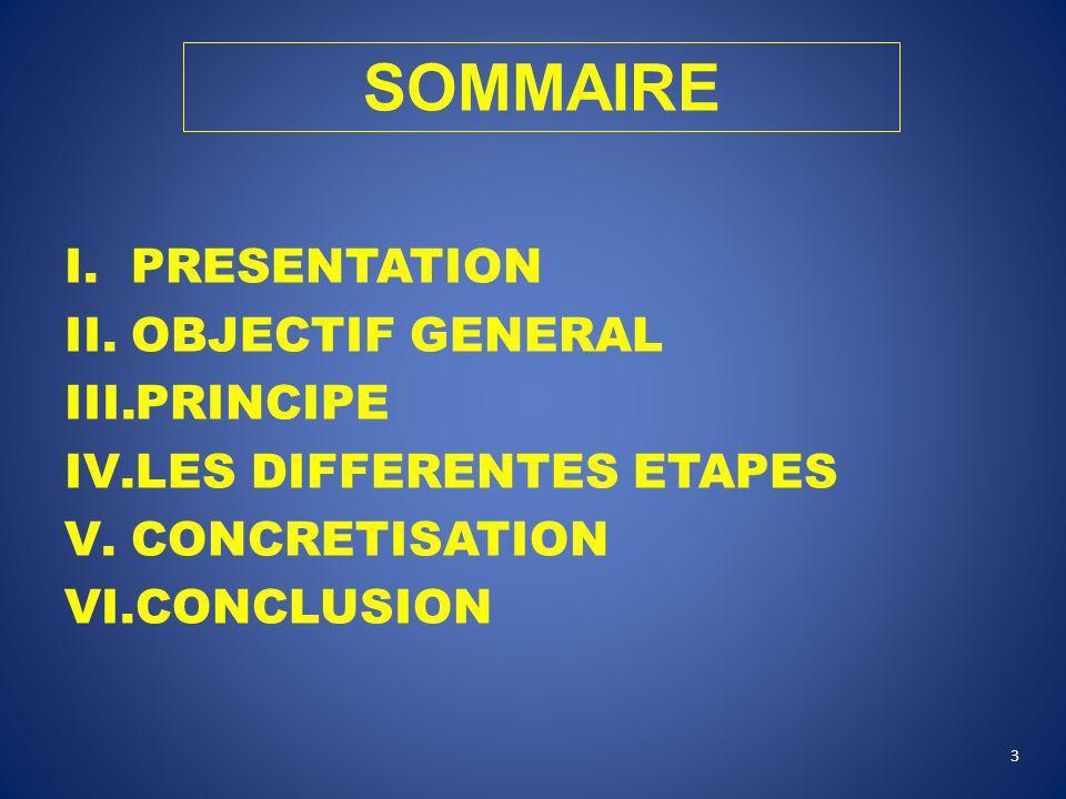 SOMMAIRE PRESENTATION OBJECTIF GENERAL PRINCIPE LES DIFFERENTES ETAPES