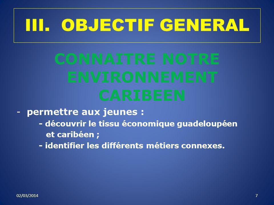 CONNAITRE NOTRE ENVIRONNEMENT CARIBEEN
