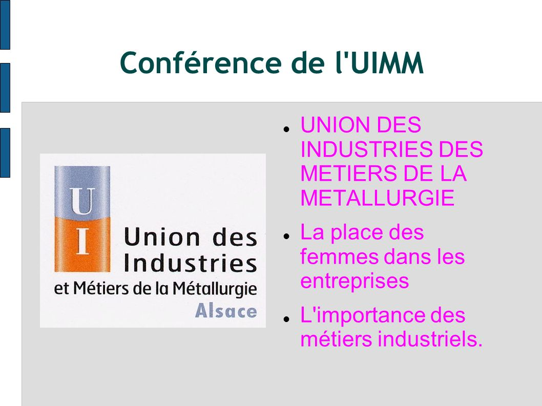 Conférence de l UIMM UNION DES INDUSTRIES DES METIERS DE LA METALLURGIE. La place des femmes dans les entreprises.