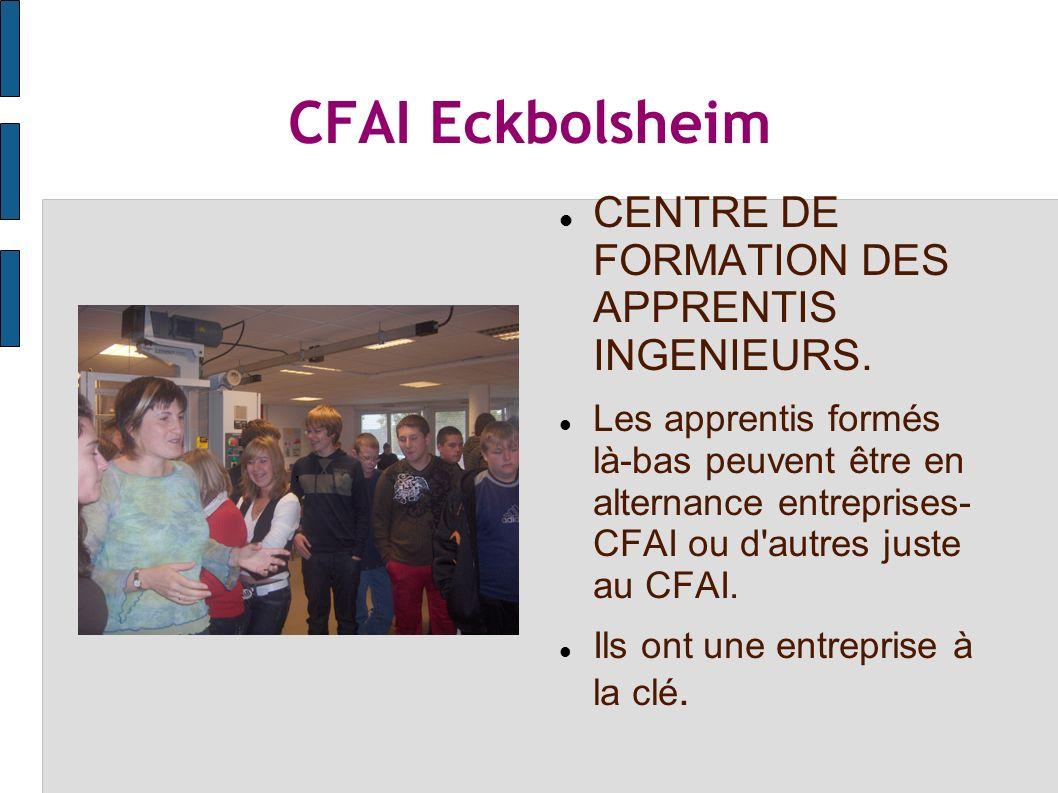 CFAI Eckbolsheim CENTRE DE FORMATION DES APPRENTIS INGENIEURS.