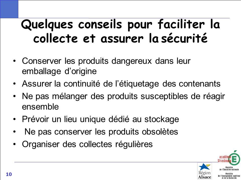 Quelques conseils pour faciliter la collecte et assurer la sécurité