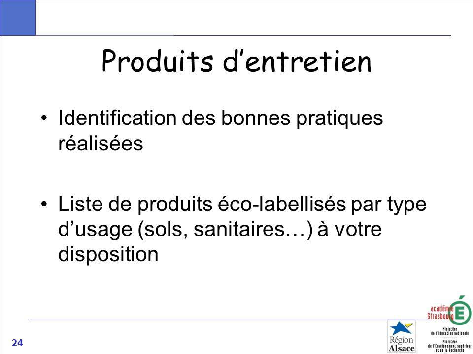 Produits d'entretien Identification des bonnes pratiques réalisées
