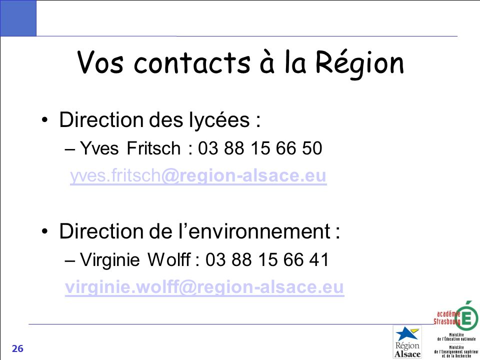 Vos contacts à la Région