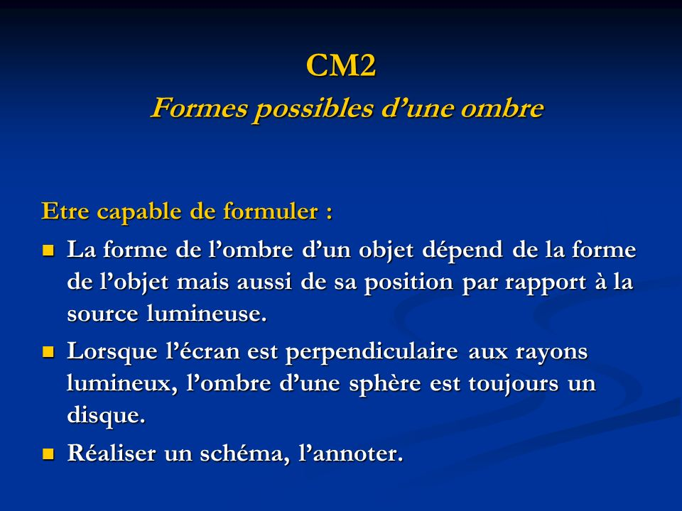 CM2 Formes possibles d'une ombre