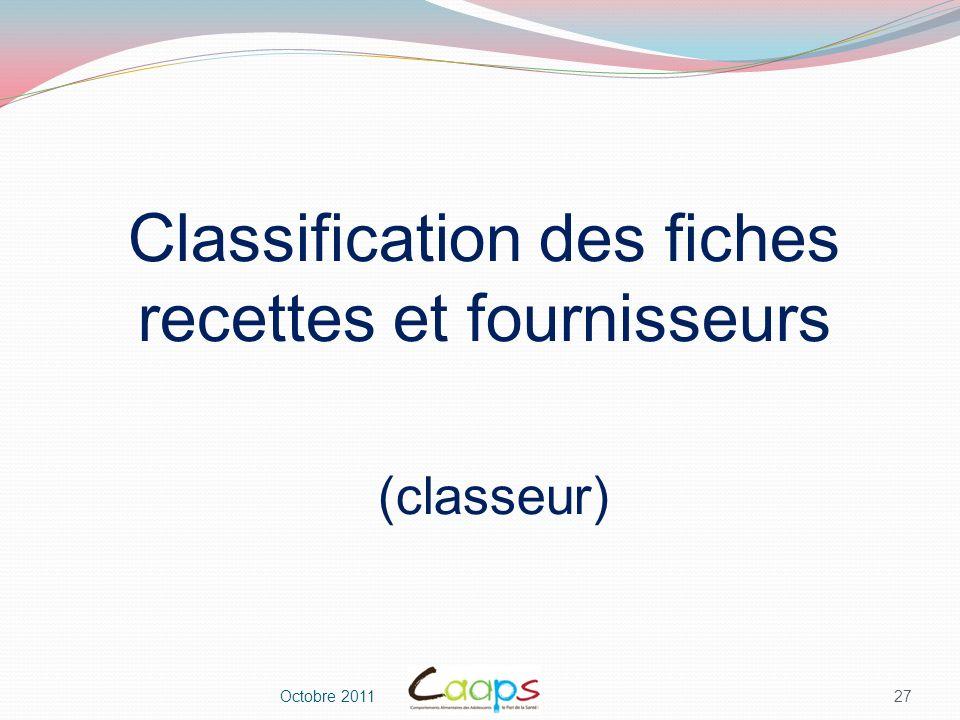 Classification des fiches recettes et fournisseurs (classeur)
