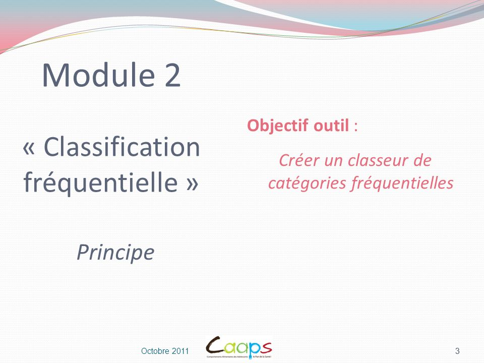 Module 2 « Classification fréquentielle »