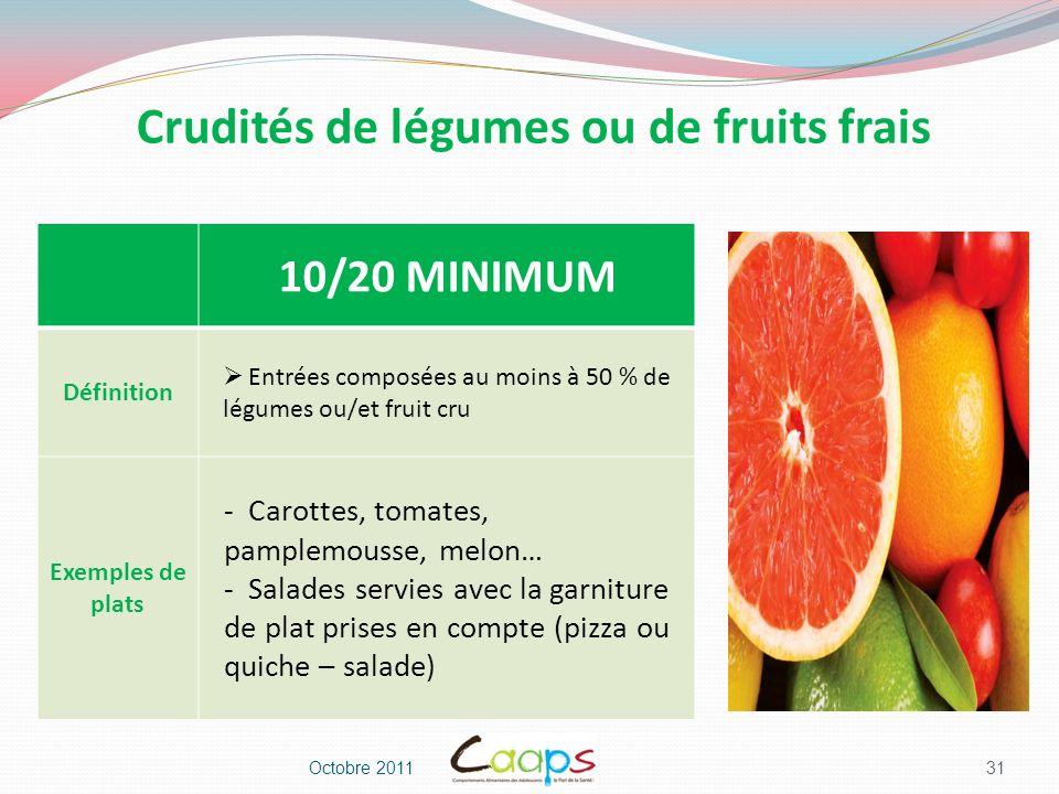 Crudités de légumes ou de fruits frais