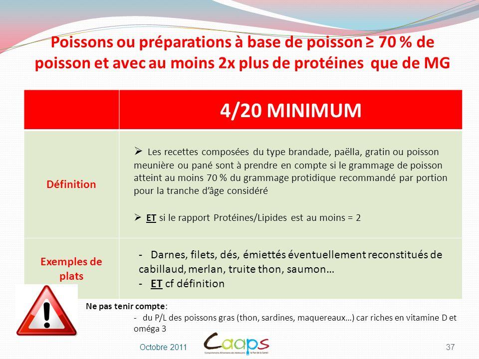 Poissons ou préparations à base de poisson ≥ 70 % de poisson et avec au moins 2x plus de protéines que de MG