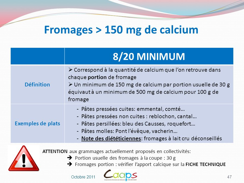 Fromages > 150 mg de calcium