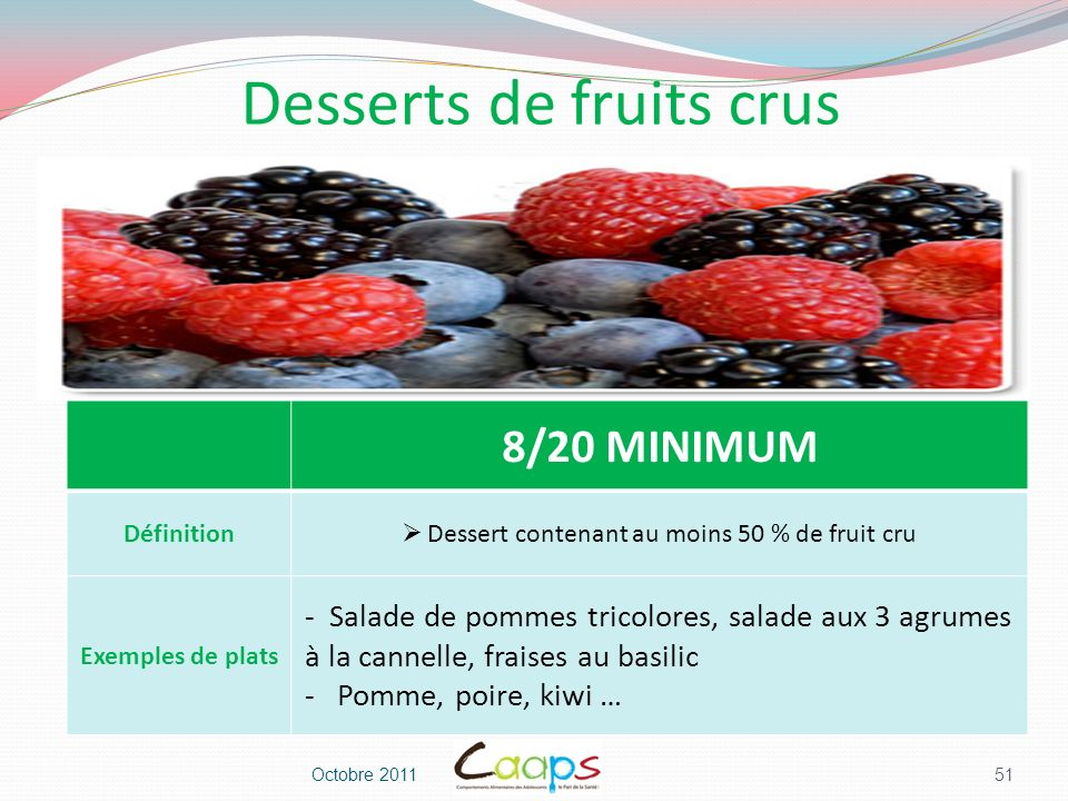 Desserts de fruits crus