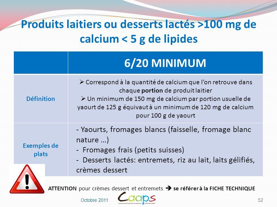 Produits laitiers ou desserts lactés >100 mg de calcium < 5 g de lipides