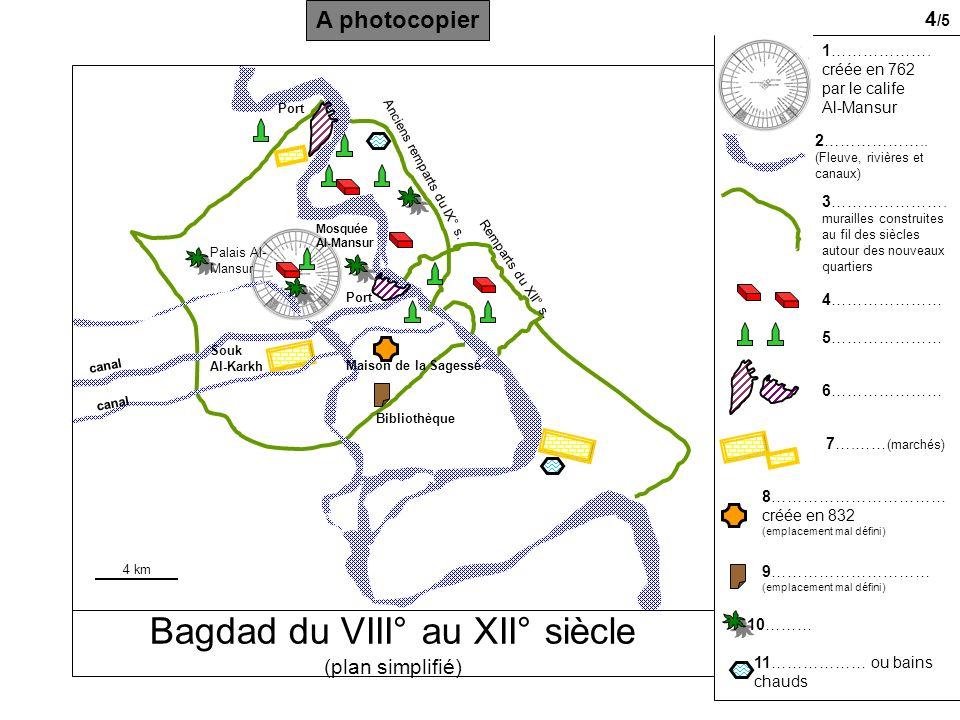 Bagdad du VIII° au XII° siècle (plan simplifié)