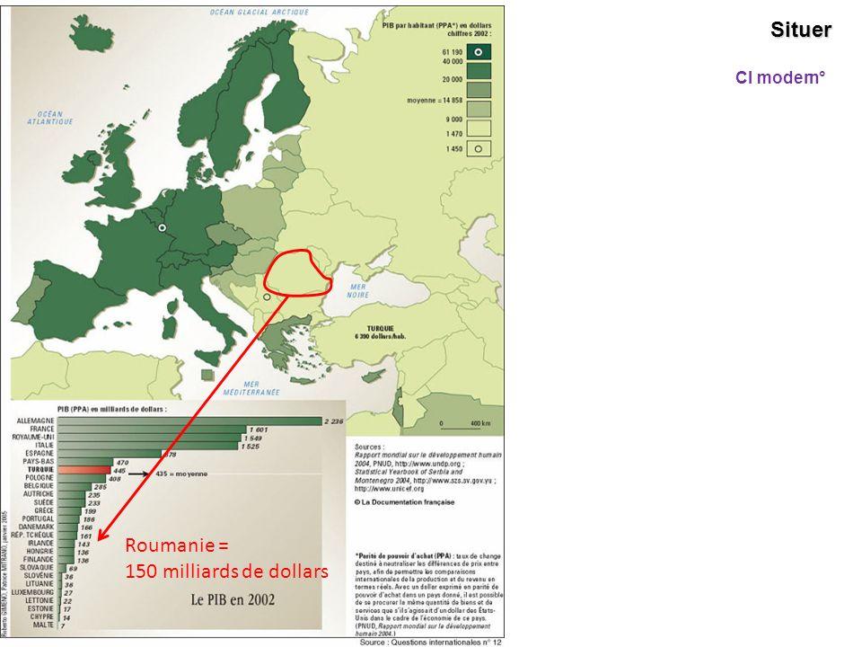 Situer Cl modern° Roumanie = 150 milliards de dollars