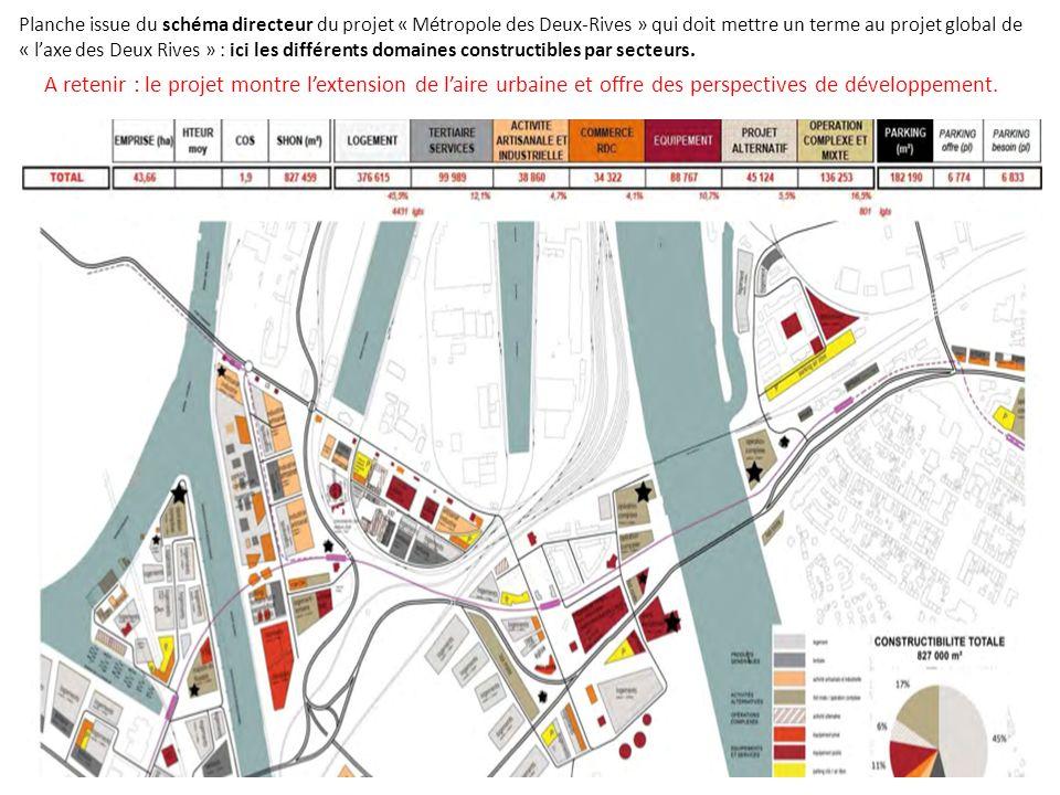 Planche issue du schéma directeur du projet « Métropole des Deux-Rives » qui doit mettre un terme au projet global de « l'axe des Deux Rives » : ici les différents domaines constructibles par secteurs.