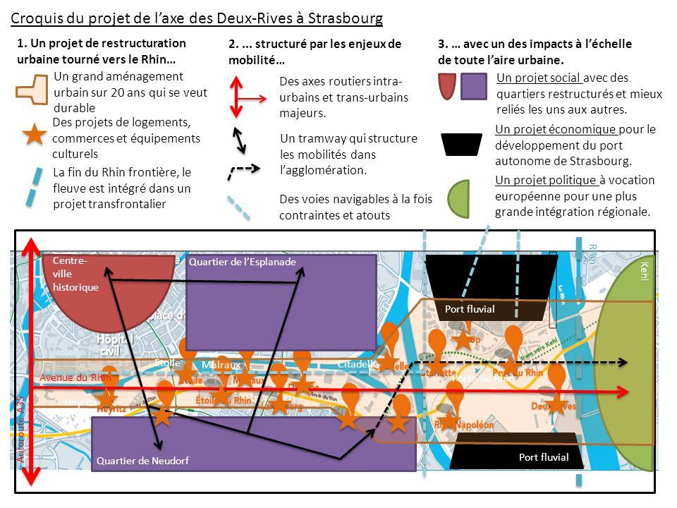 Croquis du projet de l'axe des Deux-Rives à Strasbourg