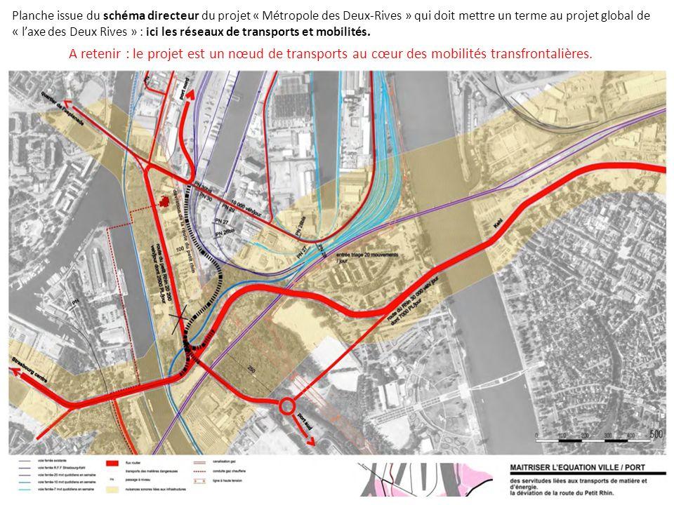 Planche issue du schéma directeur du projet « Métropole des Deux-Rives » qui doit mettre un terme au projet global de « l'axe des Deux Rives » : ici les réseaux de transports et mobilités.