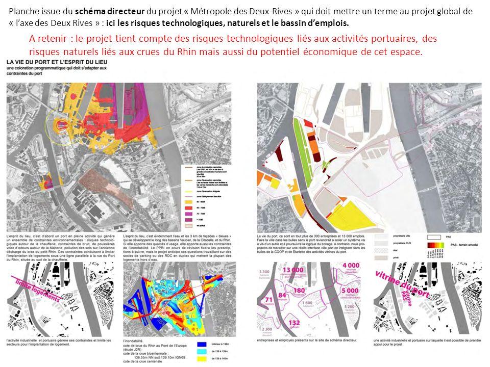 Planche issue du schéma directeur du projet « Métropole des Deux-Rives » qui doit mettre un terme au projet global de « l'axe des Deux Rives » : ici les risques technologiques, naturels et le bassin d'emplois.