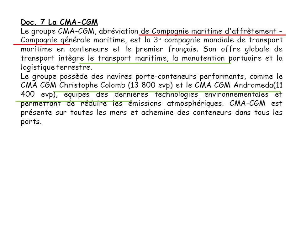 Doc. 7 La CMA-CGM