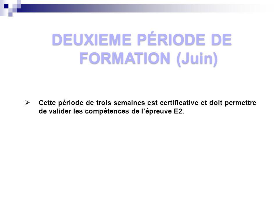 DEUXIEME PÉRIODE DE FORMATION (Juin)