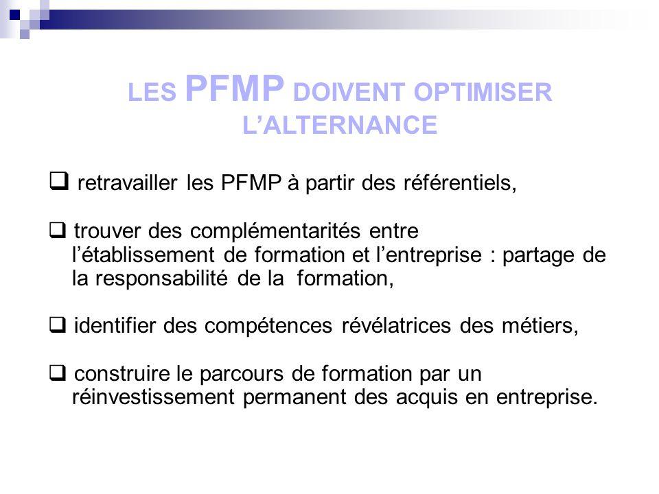 LES PFMP DOIVENT OPTIMISER L'ALTERNANCE