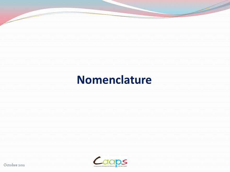 Nomenclature Octobre 2011