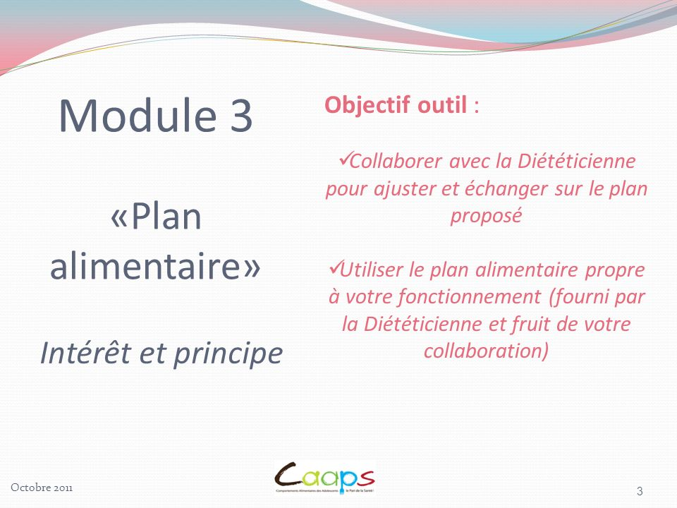 Module 3 «Plan alimentaire»