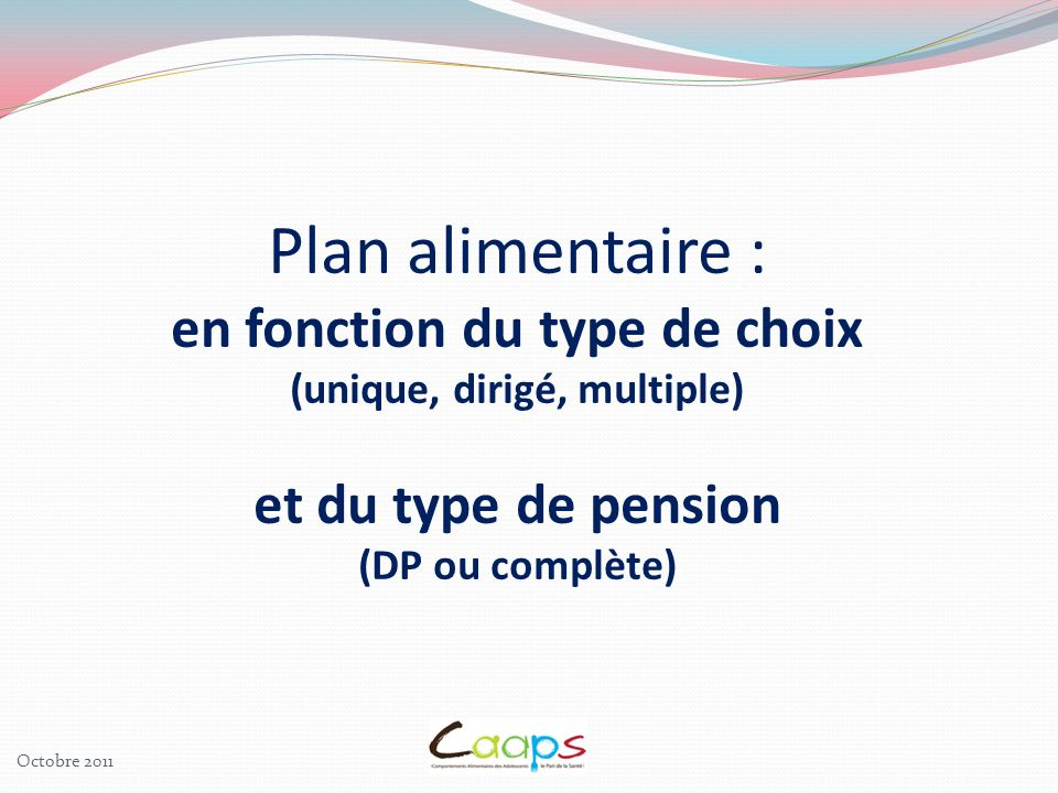 Plan alimentaire : en fonction du type de choix (unique, dirigé, multiple) et du type de pension (DP ou complète)