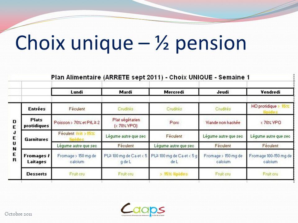 Choix unique – ½ pension