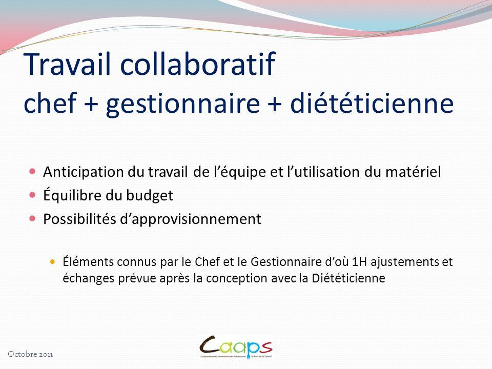 Travail collaboratif chef + gestionnaire + diététicienne