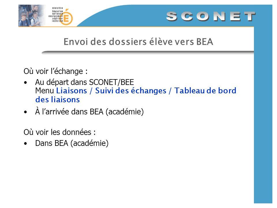 Envoi des dossiers élève vers BEA