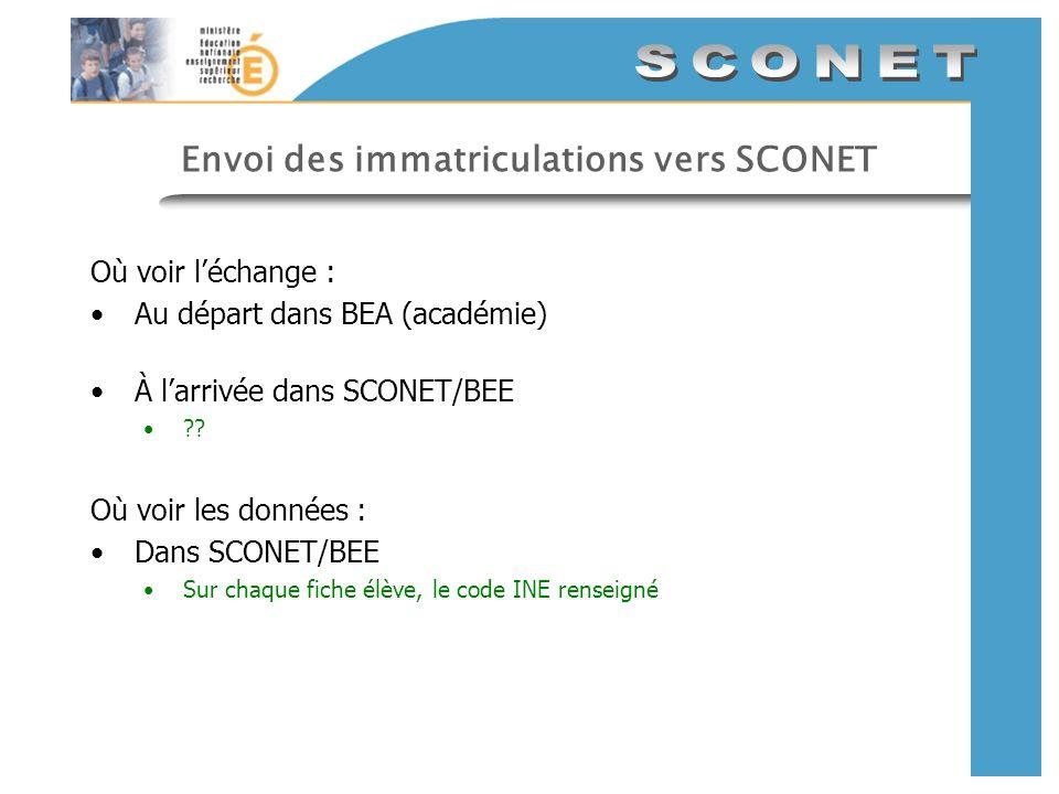 Envoi des immatriculations vers SCONET