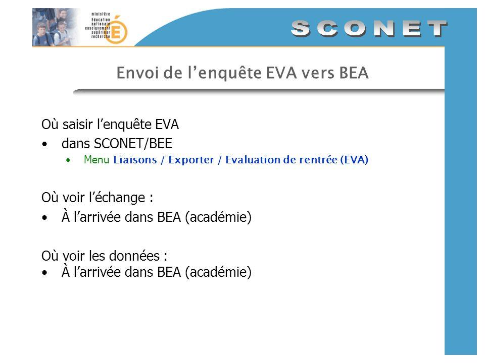 Envoi de l'enquête EVA vers BEA